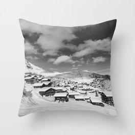 Real life snow globe village Throw Pillow
