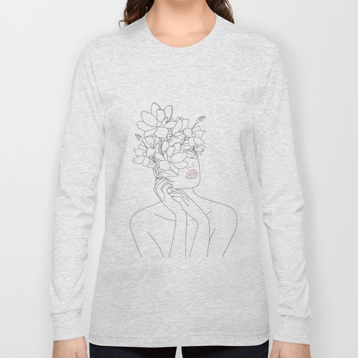Minimal Line Art Woman with Magnolia Long Sleeve T-shirt