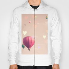 Hot air balloons nursery and heart bokeh on pale pink Hoody