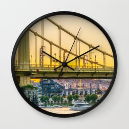 Pittsburgh Baseball Sunset Print Wall Clock