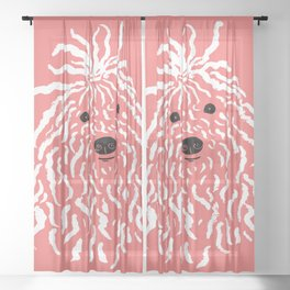 Puli (Coral and White) Sheer Curtain