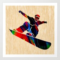 snowboard Art Prints featuring Snowboard by marvinblaine