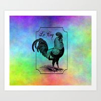 rooster Art Prints featuring Rooster by Angelandspot