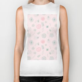 Contemporary  Abstract Pattern Art on Pink-Mix & Match with Simplicity of life Biker Tank