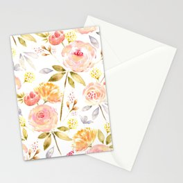 Acacia Vintage watercolored florals-White Stationery Cards