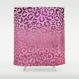 Pink Purple Glitter Leopard Animal Print Gradient Shower Curtain