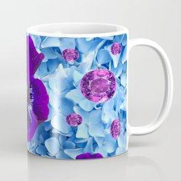 HYDRANGEAS FLORAL & PURPLE PANSIES AMETHYST GEMS Coffee Mug