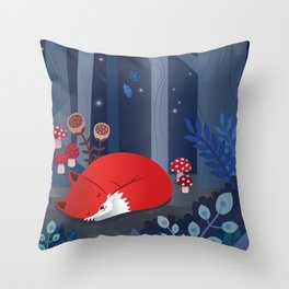 Little fox sleeps in the woods Throw Pillow