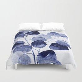 Indigo blue eucalyptus Duvet Cover