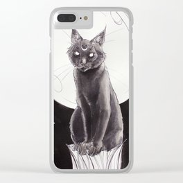 Black Cat and the Moon Clear iPhone Case