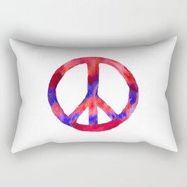Patriotic Peace Sign Tie Dye Watercolor Rectangular Pillow