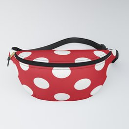 Venetian red - red - White Polka Dots - Pois Pattern Fanny Pack