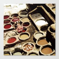 fez Canvas Prints featuring Tanneries Fez, Morocco by BlueMoonArt