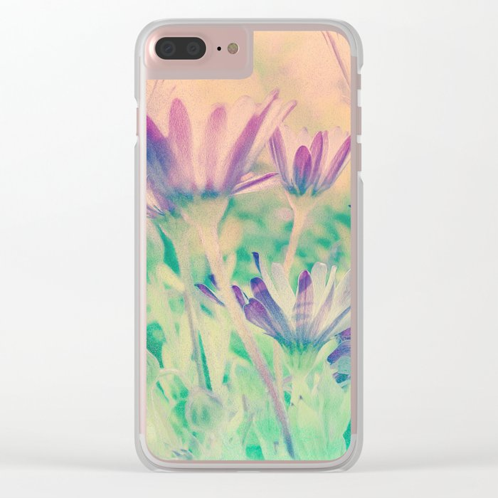 Dreamy Spring Lavender Daisy Flowers Clear iPhone Case