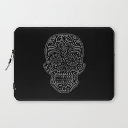 Intricate Gray and Black Day of the Dead Sugar Skull Laptop Sleeve