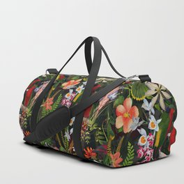 Vintage & Shabby Chic - Black Tropical Parrot Night Garden Duffle Bag