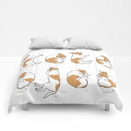 Jack Russell Sleep Study Art Print. Illustrations of a dog's sleeping postions Comforters