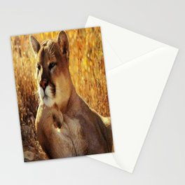 The Golden Thinker 🐾 Cougar 🐾 Stationery Cards