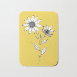 Wildflower line drawing | Botanical Art Bath Mat