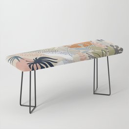 Tropical Foliage Pattern 1 - Retro Boho Bench