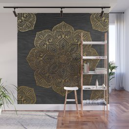 Wood Mandala - Gold Wall Mural