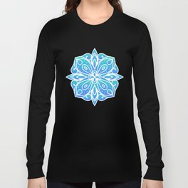 Decorative Layers of Blue Flowers Long Sleeve T-shirt