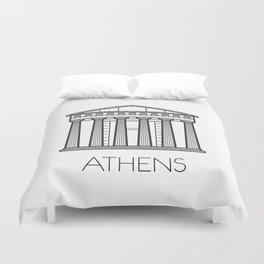 Acropolis Athens Greece Black and White Duvet Cover