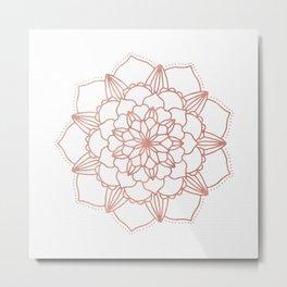 Rose Gold Mandala Flower on White III Metal Print