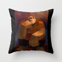 wreck it ralph Throw Pillows featuring Vermeer Ralph by Zimeta