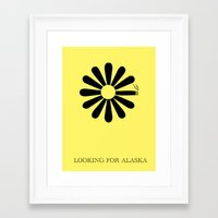 looking for alaska Framed Art Prints featuring Looking for Alaska by green.lime