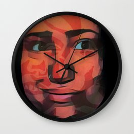 Smile camouflages the scars Wall Clock