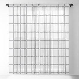 Grey Grid Pattern Sheer Curtain