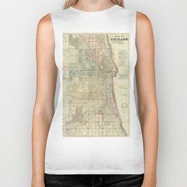 Vintage Map of Chicago (1857) Biker Tank