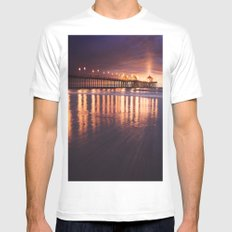 Huntington Beach Sunset Mens Fitted Tee MEDIUM White