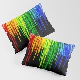 Rainbow Paint Drops on Black Pillow Sham