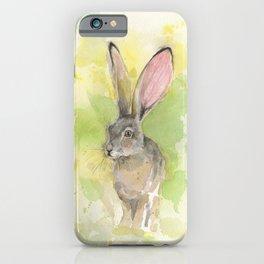 Jackrabbit watercolor art iPhone Case