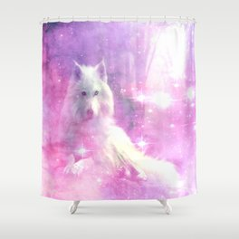 Majestic Wolf Pink Shower Curtain