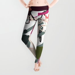 Modern feminine design - quirky 'bird' mixed media art - pinks, purples, blues, greens, grays Leggings