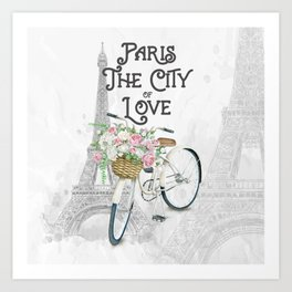 Vintage Paris Bicycle with Flowers Art Print