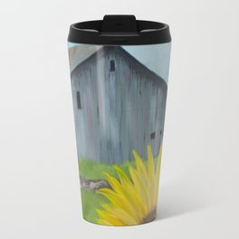Sunflower with weathered barn Travel Mug