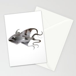 magic cartoon fish, fairy tale character. Water animal fish with long tail. Stationery Cards