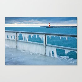 Mole with lighthouse in Warnemuende Canvas Print