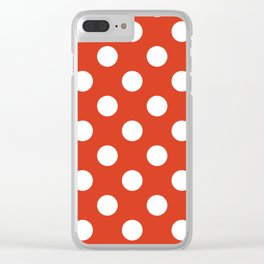 Vermilion - red - White Polka Dots - Pois Pattern Clear iPhone Case