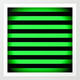 Stripes Green & Black Art Print