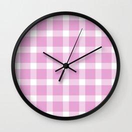 Plaid Soft Pink Wall Clock