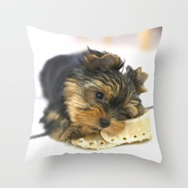 Puppy And the First Chewing Bone Yorkshireterrier #decor #society6 Throw Pillow