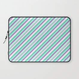 Deep Sea Green Turquoise Violet Inclined Stripes Laptop Sleeve