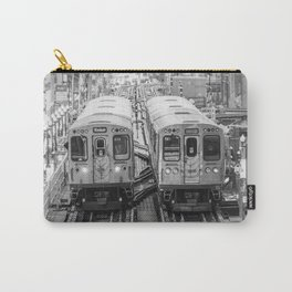 Black and White Chicago Train El Train above Wabash Ave the Loop Windy City Carry-All Pouch