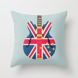 Union Jack Flag Britpop Guitar - Slate Throw Pillow