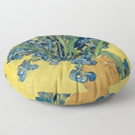 Still Life: Vase with Irises Against a Yellow Background Floor Pillow